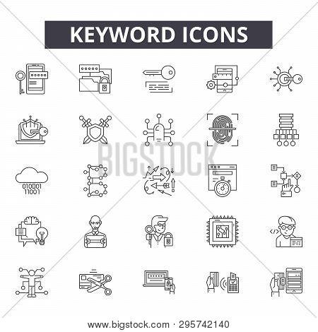 Keyword Line Icons, Signs Set, Vector. Keyword Outline Concept, Illustration: Keyword, Search, Web,