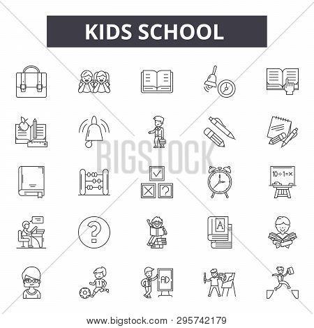 Kids School Line Icons, Signs Set, Vector. Kids School Outline Concept, Illustration: School, Educat