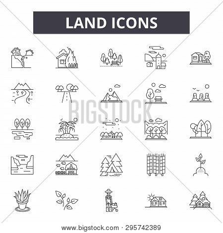 Land Line Icons, Signs Set, Vector. Land Outline Concept, Illustration: Land, Landscape, Farm, Field