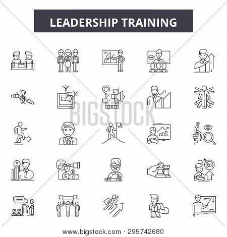 Leadership Training Line Icons, Signs Set, Vector. Leadership Training Outline Concept, Illustration