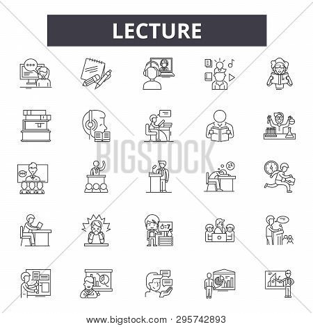 Lecture Line Icons, Signs Set, Vector. Lecture Outline Concept, Illustration: Training, Lecture, Pre