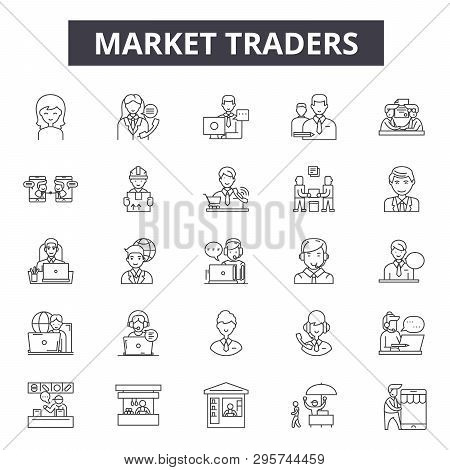 Market Traders Line Icons, Signs Set, Vector. Market Traders Outline Concept, Illustration: Business