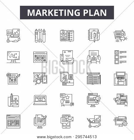 Marketing Plan Line Icons, Signs Set, Vector. Marketing Plan Outline Concept, Illustration: Marketin