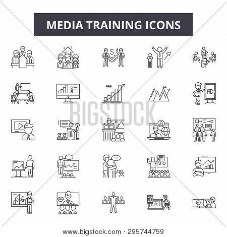 Media Training Line Icons, Signs Set, Vector. Media Training Outline Concept, Illustration: Media, T