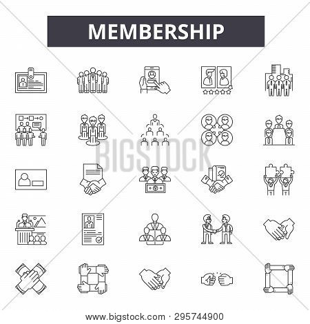 Membership Line Icons, Signs Set, Vector. Membership Outline Concept, Illustration: Membership, Card
