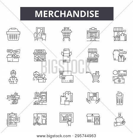 Merchandise Line Icons, Signs Set, Vector. Merchandise Outline Concept, Illustration: Merchandise, S