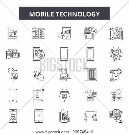 Mobile Technology Line Icons, Signs Set, Vector. Mobile Technology Outline Concept, Illustration: Te