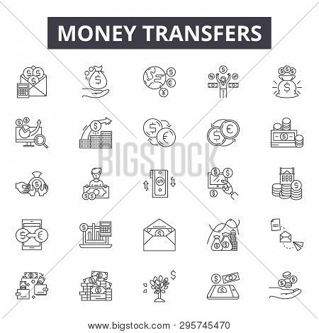 Money Transfers Line Icons, Signs Set, Vector. Money Transfers Outline Concept, Illustration: Money,
