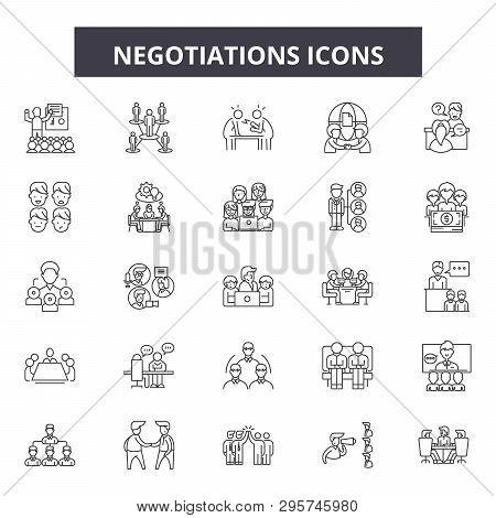 Negotiations Line Icons, Signs Set, Vector. Negotiations Outline Concept, Illustration: Negotiation,