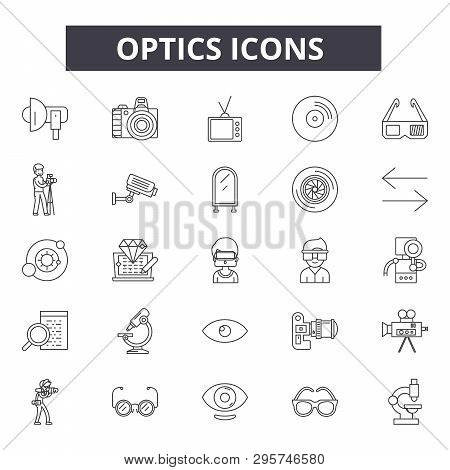 Optics Line Icons, Signs Set, Vector. Optics Outline Concept, Illustration: Optic, Technology, Optic