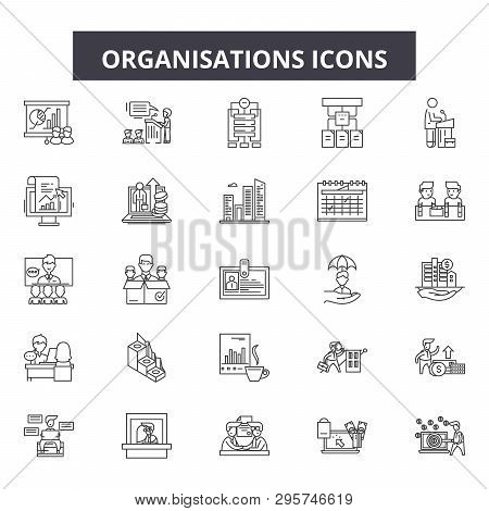 Organisation Line Icons, Signs Set, Vector. Organisation Outline Concept, Illustration: Business, Or