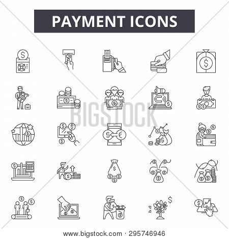 Payment Line Icons, Signs Set, Vector. Payment Outline Concept, Illustration: Payment, Money, Financ