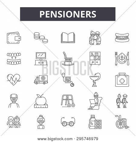 Pensioners Line Icons, Signs Set, Vector. Pensioners Outline Concept, Illustration: Pension, Retirem