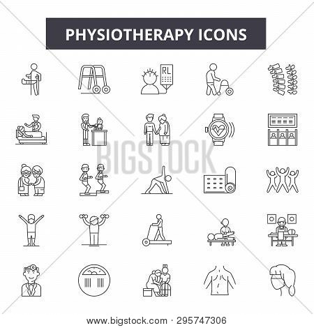 Physiotherapy Line Icons, Signs Set, Vector. Physiotherapy Outline Concept, Illustration: Medical, P