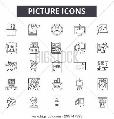 Picture Line Icons, Signs Set, Vector. Picture Outline Concept, Illustration: Photo, Picture, Image,