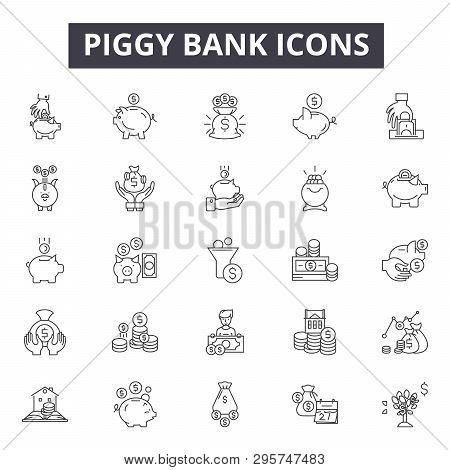 Piggy Bank Line Icons, Signs Set, Vector. Piggy Bank Outline Concept, Illustration: Money, Coin, Fin