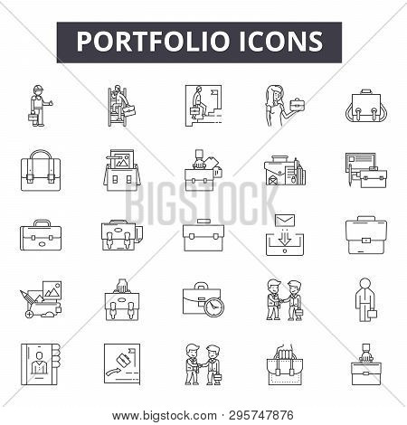 Portfolio Line Icons, Signs Set, Vector. Portfolio Outline Concept, Illustration: Portfolio, Busines