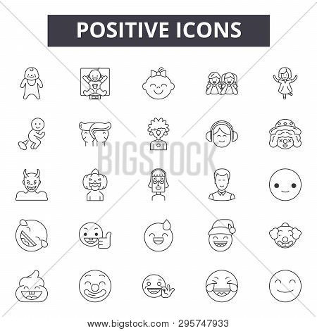 Positive Line Icons, Signs Set, Vector. Positive Outline Concept, Illustration: Positive, Like, Flat
