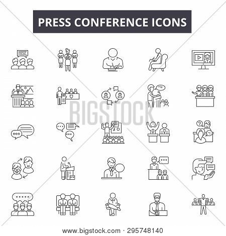 Press Conference Line Icons, Signs Set, Vector. Press Conference Outline Concept, Illustration: Pres