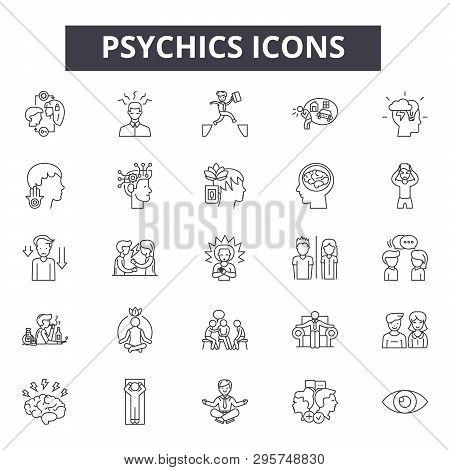 Psychics Line Icons, Signs Set, Vector. Psychics Outline Concept, Illustration: Psychic, Deelement,