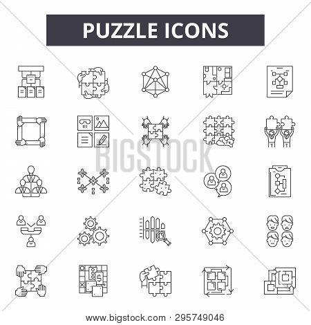 Puzzle Line Icons, Signs Set, Vector. Puzzle Outline Concept, Illustration: Puzzle, Business, Idea,