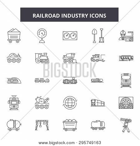 Railroad Industry Line Icons, Signs Set, Vector. Railroad Industry Outline Concept, Illustration: Ra