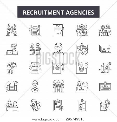 Recruitment Agencies Line Icons, Signs Set, Vector. Recruitment Agencies Outline Concept, Illustrati