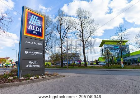 Nuremberg / Germany - April 7, 2019: Branch From Aldi Supermarket Chain. Aldi Is The Common Brand Of