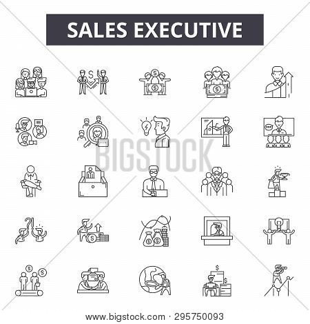 Sales Executive Line Icons, Signs Set, Vector. Sales Executive Outline Concept, Illustration: Busine