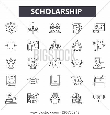 Scholarship Line Icons, Signs Set, Vector. Scholarship Outline Concept, Illustration: Education, Sch