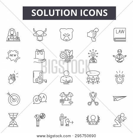 Solution Line Icons, Signs Set, Vector. Solution Outline Concept, Illustration: Solution, Idea, Busi