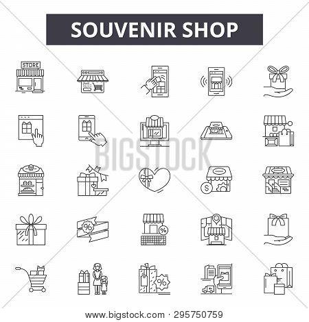 Souvenir Shop Line Icons, Signs Set, Vector. Souvenir Shop Outline Concept, Illustration: Souvenir,