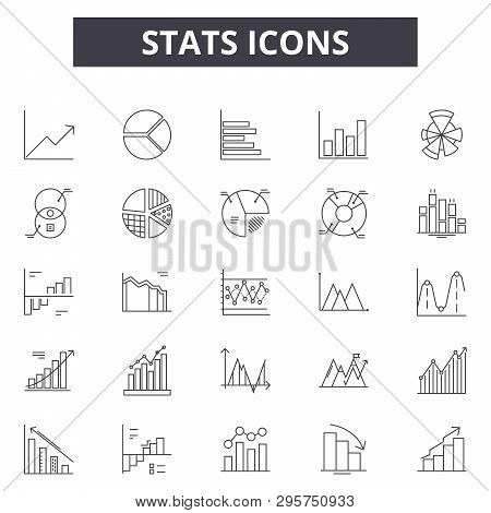 Stats Line Icons, Signs Set, Vector. Stats Outline Concept, Illustration: Stats, Chart, Graph, Busin