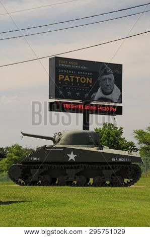 May 27, 2016, Fort Knox, Ky, George Patton Museum, Billboard Sign Above A Sherman Tank With A Destro