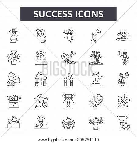 Success Line Icons, Signs Set, Vector. Success Outline Concept, Illustration: Success, Deachievement