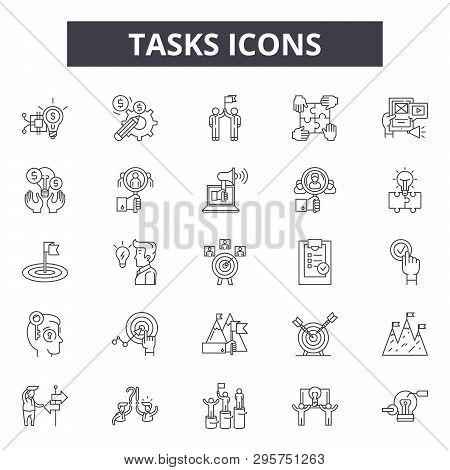 Tasks Line Icons, Signs Set, Vector. Tasks Outline Concept, Illustration: Task, Business, Clipboard,