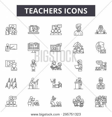 Teachers Line Icons, Signs Set, Vector. Teachers Outline Concept, Illustration: Teacher, Education,