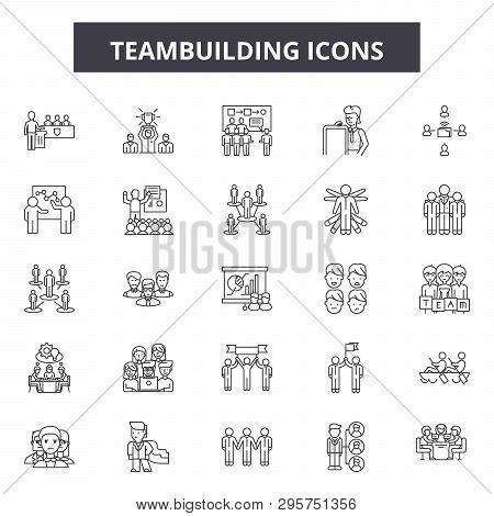 Teambuilding Line Icons, Signs Set, Vector. Teambuilding Outline Concept, Illustration: Teamwork, Te