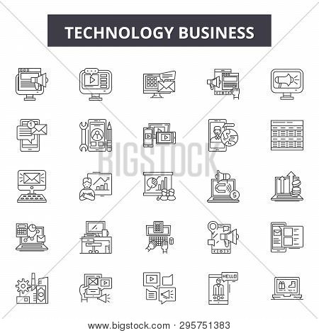 Technology Business Line Icons, Signs Set, Vector. Technology Business Outline Concept, Illustration