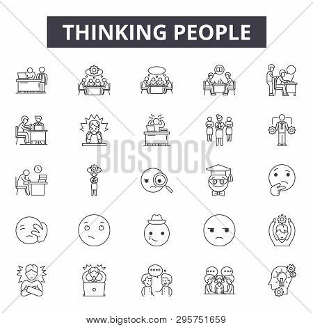 Thinking People Line Icons, Signs Set, Vector. Thinking People Outline Concept, Illustration: Depeop