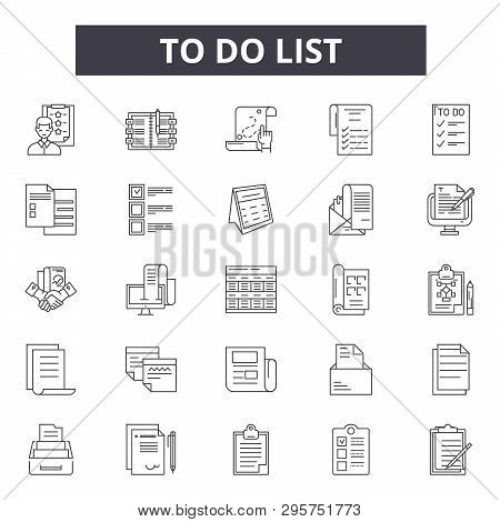 To Do List Line Icons, Signs Set, Vector. To Do List Outline Concept, Illustration: List, Business,