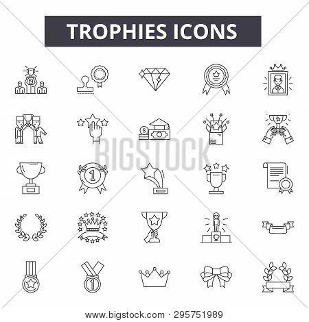 Trophies Line Icons, Signs Set, Vector. Trophies Outline Concept, Illustration: Trophy, Winner, Priz