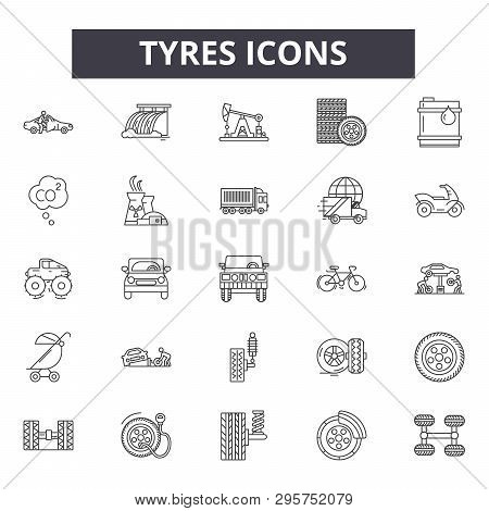 Tyres Line Icons, Signs Set, Vector. Tyres Outline Concept, Illustration: Tire, Black, Tyre, Car, Wh