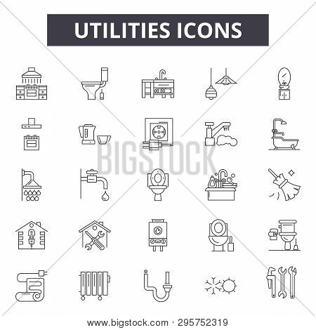 Utilities Line Icons, Signs Set, Vector. Utilities Outline Concept, Illustration: Energy, Electricit