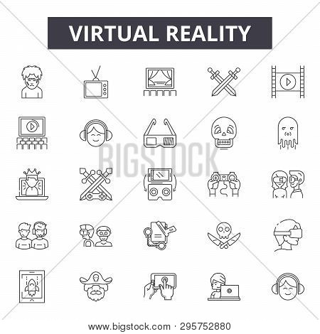 Virtual Reality Line Icons, Signs Set, Vector. Virtual Reality Outline Concept, Illustration: Realit