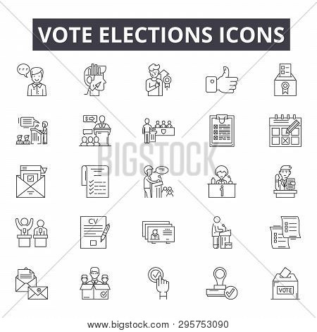 Vote Elections Line Icons, Signs Set, Vector. Vote Elections Outline Concept, Illustration: Voting,