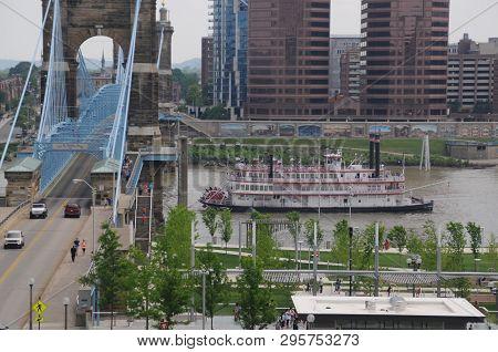 Cincinnati, Oh, May 28, 2016, Belle Of Cincinnati Riverboat, Steamboat, Paddleboat, On The Ohio Rive