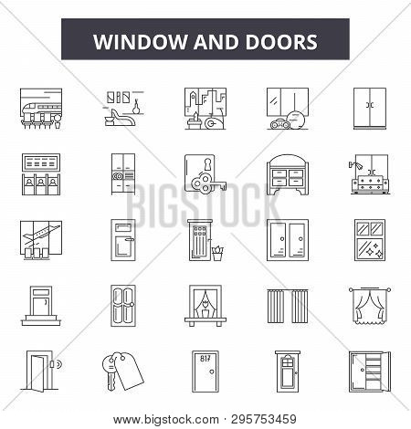 Window And Doors Line Icons, Signs Set, Vector. Window And Doors Outline Concept, Illustration: Door