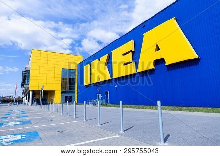 Nuremberg / Germany - April 7, 2019: Ikea Branch On A Warehouse In Nuremberg. Ikea Is A Swedish-foun