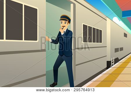 A Vector Illustration Of Working Train Conductor